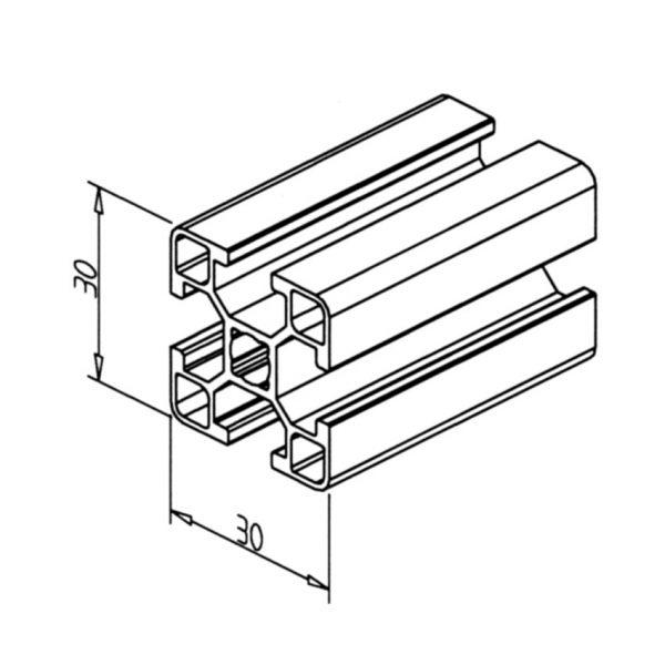 minitec 30x30 profile diagram