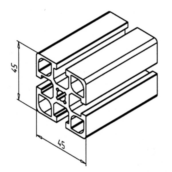 Minitec Aluminium Profile 45x45 F Cross Section