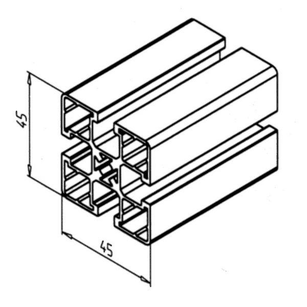 45 x 45 UL Aluminium Profile Diagram