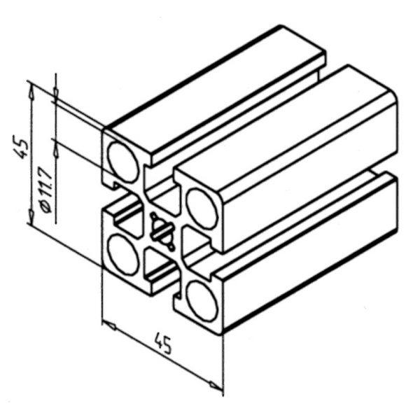 minitec 45x45 profile Diagram