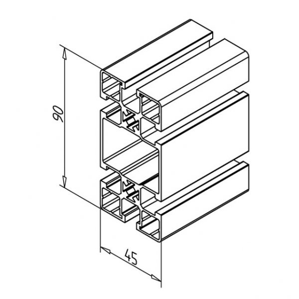 45 x 90 UL Aluminium Profile Diagram