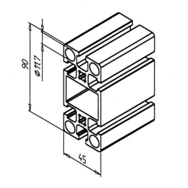 minitec 45x90 profile diagram